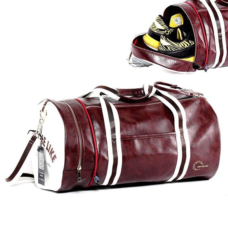 Gym Bag Men And Women Shoulder Bag Messenger Portable Training Basketball Bag Cylinder Travel Bag Sports Leather Handbag Tennis
