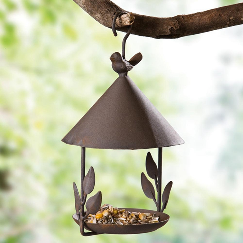 New Bird Feeder Bird Outdoor Iron Rainproof Windproof Hanging Style Feeder for Various Pet Birds Feeding Supplies