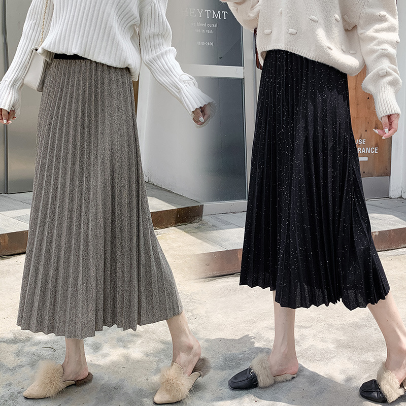 Pleated Skirt Women's A- Line Skirt High-waisted Slimming Medium-length Dress 2019 Fall And Winter Clothes Bronze Retro Loose Bi