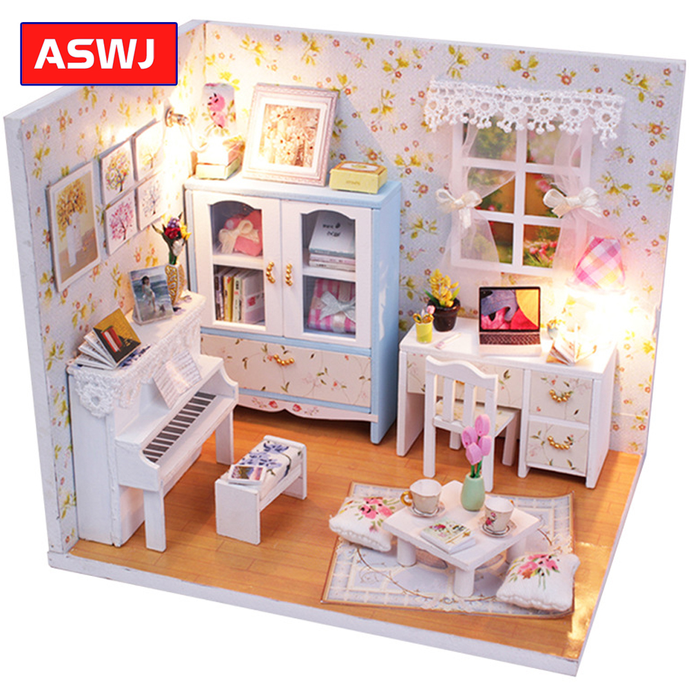 DIY Wooden Roombox With Furniture Assemble Kits Handmade Miniature Dollhouse Toys For Children Christmas Holiday Gifts