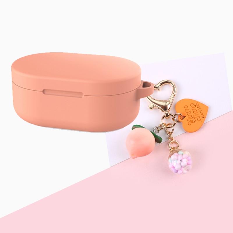 For Xiaomi Redmi Airdots Mi True Headphones Case Sweet Peach Keyring Silicone Protection Cases Redmi Airdots Case Cover coque
