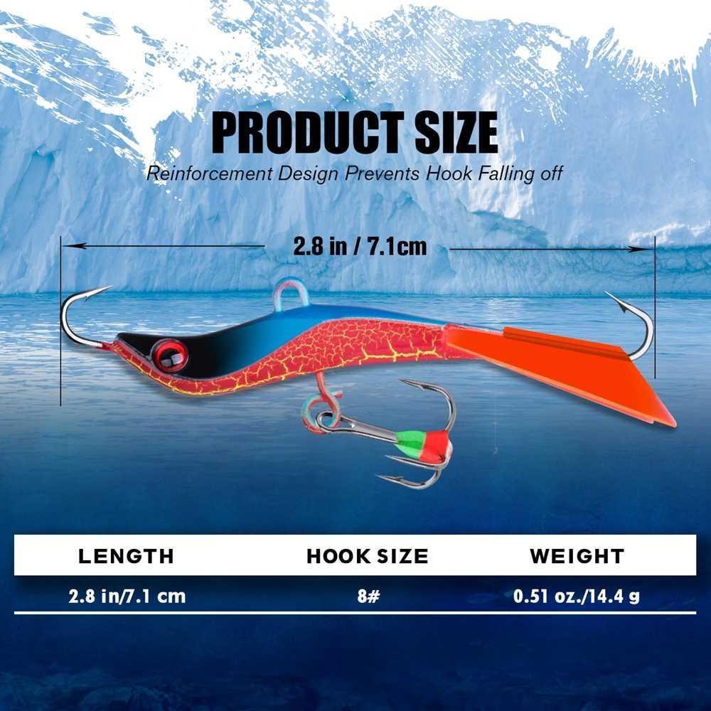 Goture 4 unids/set señuelo para Pesca en hielo de invierno Balancer Jig Bait forma S ojos 3D plomo señuelo duro 14,4g 7,1 cm aparejo de Pesca luminoso