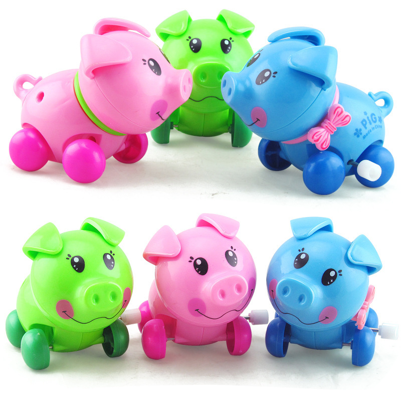 Creative Infants Children Spring Small Toy Winding Mini Cute Piggy  Toy Square Stall Hot Selling