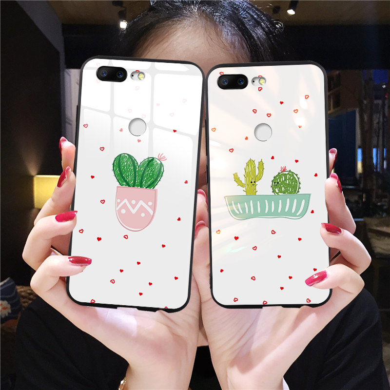 Korean Phone <font><b>Case</b></font> For <font><b>OnePlus</b></font> 7t 5 <font><b>5T</b></font> 6 6t 7 7 Pro Tropical Plants Cactus Tempered <font><b>Glass</b></font> Cover For One Plus 7t Pro Cute Coque image