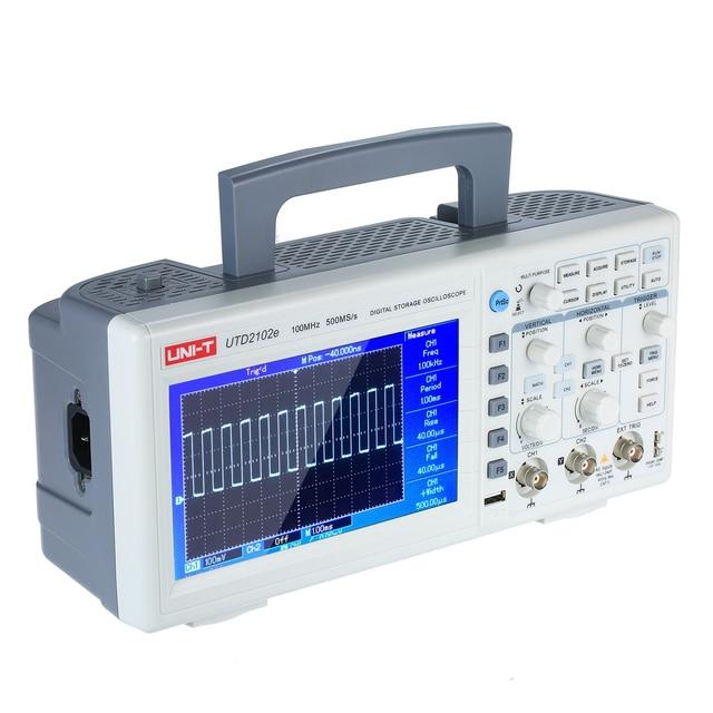 "UNI T UTD2102e デジタルオシロスコープ 100 Mhz の帯域幅と USB OTG 2 チャンネル 500 メガサンプル/秒収納ポータブル 7 ""TFT 液晶オシロスコープ"