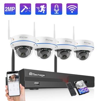Techage 8CH 1080P Wireless NVR Kit Security IP Camera System 2MP Wifi Audio Sound CCTV Dome Indoor Camera CCTV Surveillance Set