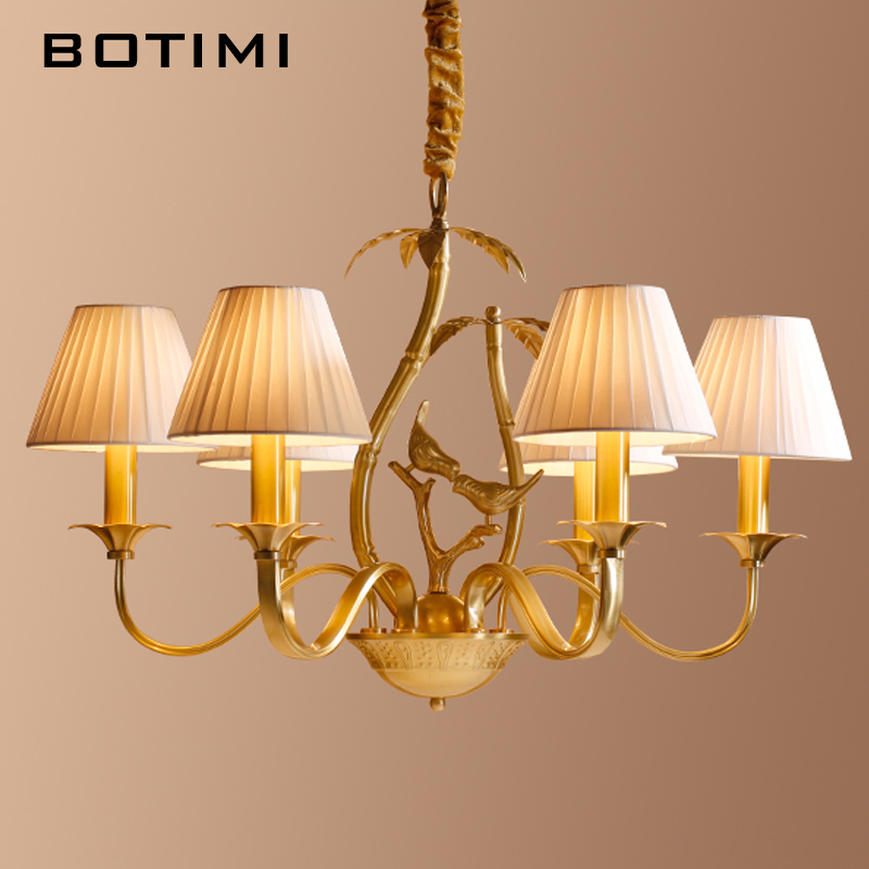 BOTIMI New Arrival  Birds DECO Full Copper Chandelier With Frabic Lampshades For Living Room  Bedroom Dining Room LED Lustres
