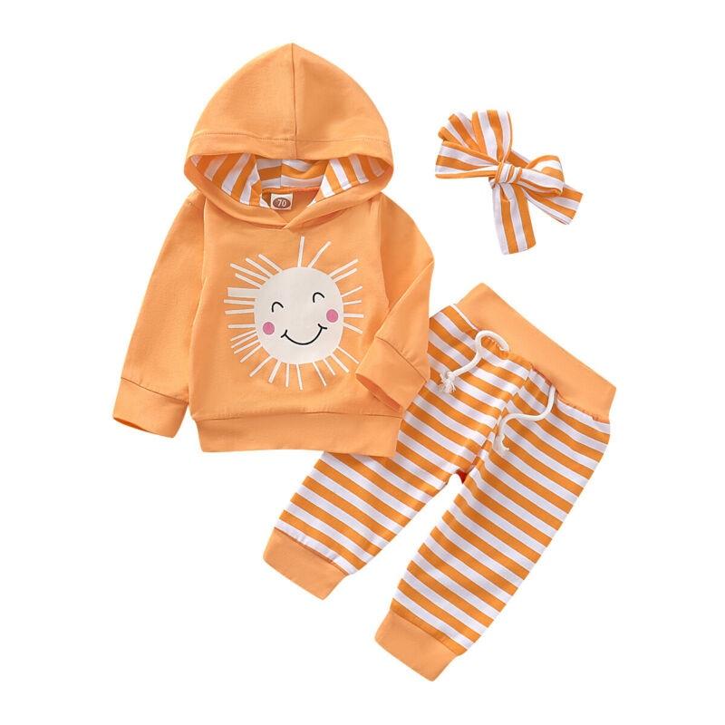 Pant Clothes-Sets Top Headband Long-Sleeve Newborn Baby-Girls Stripe Boy Cotton Autumn