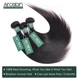 Image 3 - Aircabinストレート髪のバンドル 13 × 6 レース前頭ブラジルのremy人間の髪バンドル拡張とレース閉鎖