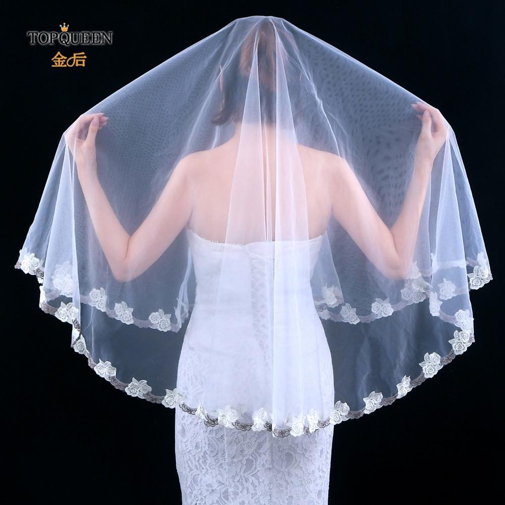 TOPQUEEN V55 Short Bridal Veil Lace Flower Bridal Veil New Design Bridal Veil without Comb White ivory Bridal Veil Trim
