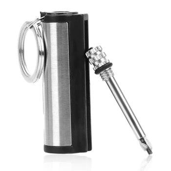 열쇠 고리 스트라이커 라이터 영구 원통형 일치 스테인레스 스틸 열쇠 고리 자동 인테리어 액세서리