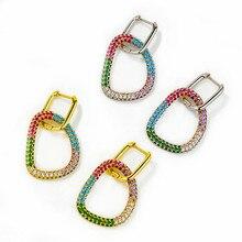 1 peça pequenos brincos de argola para mulher brinco de elipse triangular arco-íris cz jóias ouro prata cor aros