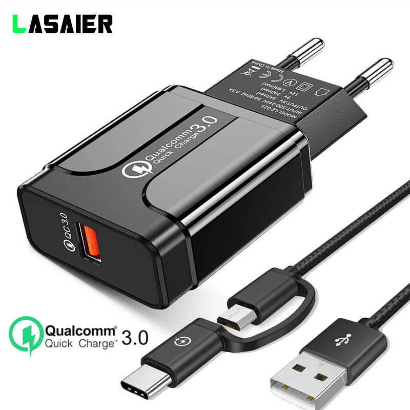 18W Quick Charge 3.0 Qualcomm QC 3.0 4.0 Cepat Charger Usb Portable Pengisian Ponsel Kabel Charger untuk iPhone samsung Xiaomi