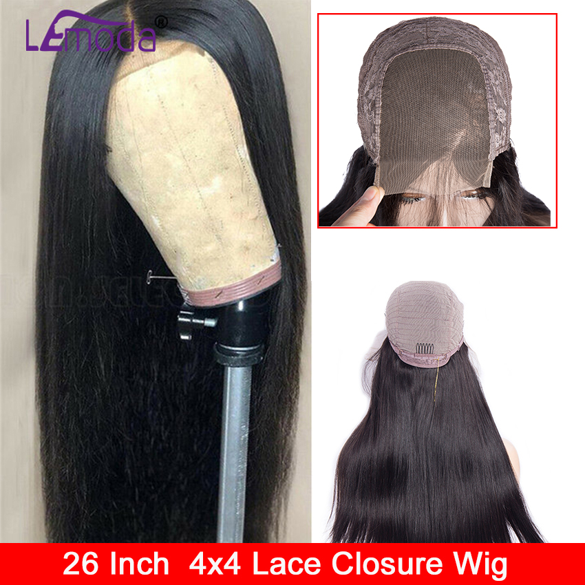 4x4 Closure Wig 26 Inch Lace Closure Human Hair Wigs For Black Women Brazilian Remy 150