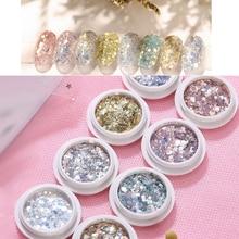 8 Box Nail Mermaid Glitter Flakes Sparkly 3D Hexagon Colorful Sequins Spangles Polish Manicure Nails Art Design Decorations ZJ11 недорого