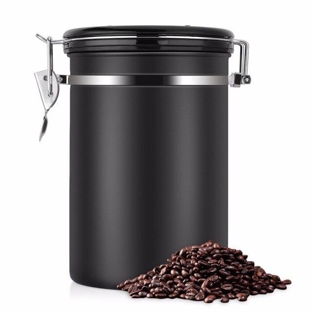 Recipiente de feijão café grande hermético aço inoxidável café chá sortage vasilha preto cozinha sotrage para organizador cozinha