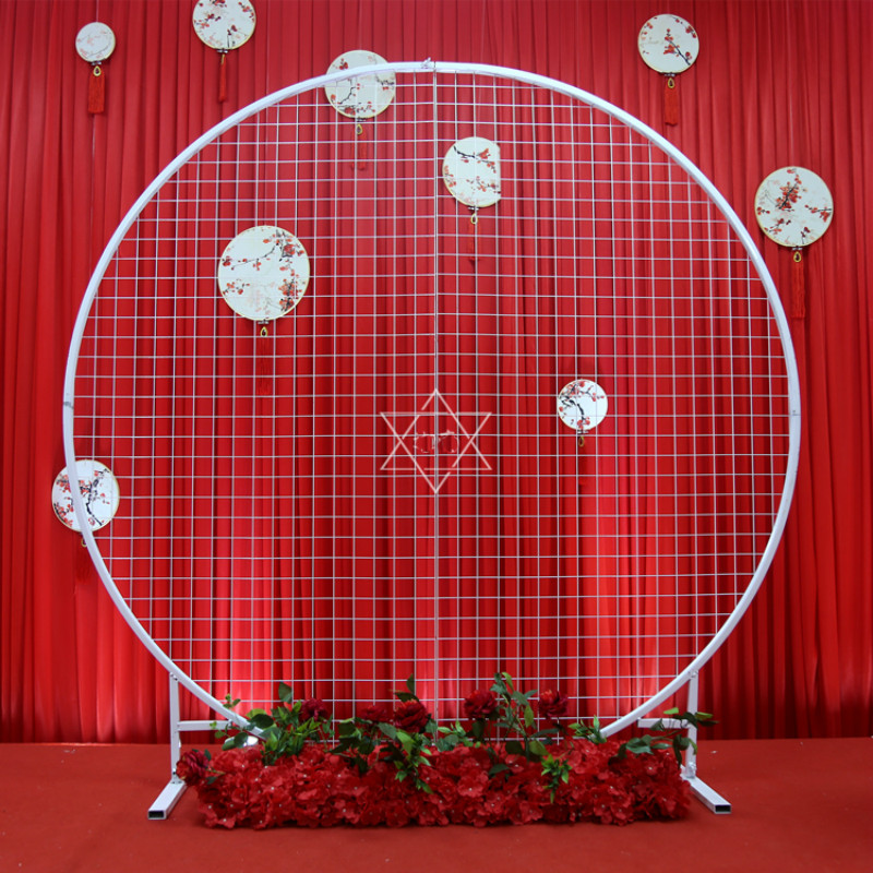 New style Wedding Stage Wrought Iron circle ring Background Props Ornaments Arch Screen Grid Site Layout props