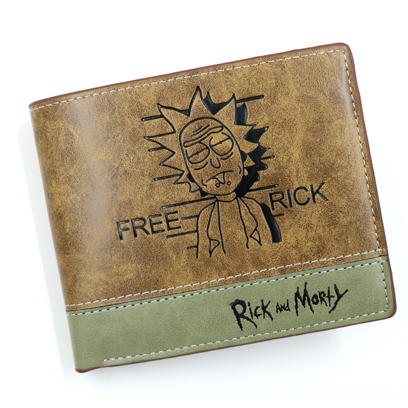 Anime Comics Rick And Morty Wallet With Coin Pocket Card Holder Khaki Leather Purse Men Women Gift Money Bag