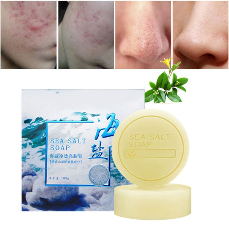 Sea Salt Anti-mite Soap Nourishing Skin Oil-control Anti-acnes Moisturizing Remove Blackheads Handmade Soap For Body Face Care
