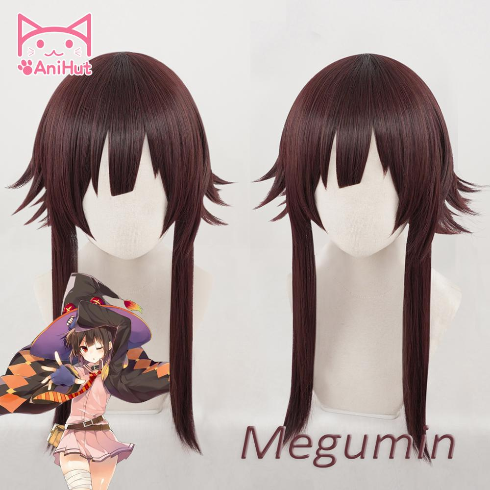【AniHut】Megumin Cosplay Wig Anime God's Blessing On This Wonderful World Synthetic Dark Red Hair  Cosplay Costumes Hair