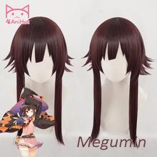 【AniHut】Megumin פאת קוספליי אנימה אלוהים של ברכה על זה נפלא העולם סינטטי אדום כהה שיער קוספליי תלבושות שיער