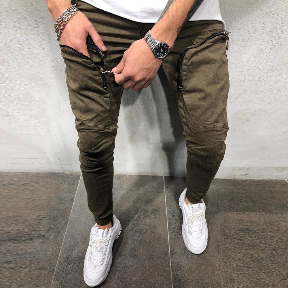 Autumn And Winter New Style Skinny Gymnastic Pants Men's Cool Zipper Pocket Elasticity Athletic Pants Casual Pants