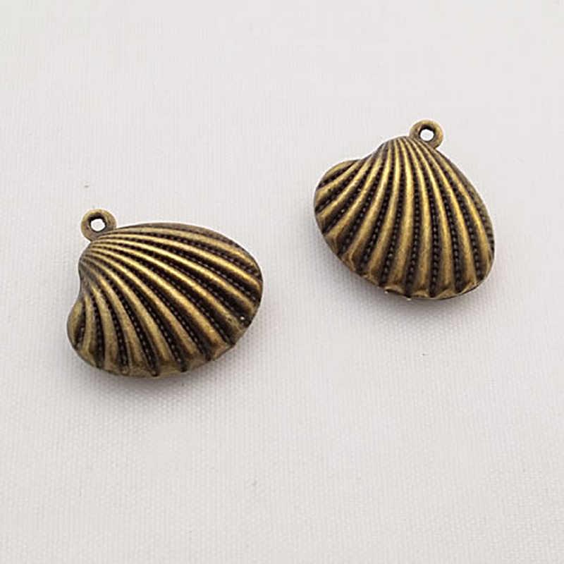 (F687) 10 ชิ้น 19x16 มม.24 K แชมเปญ Gold Color เปลือกหอย Charms จี้ Diy สร้อยคอขายส่ง
