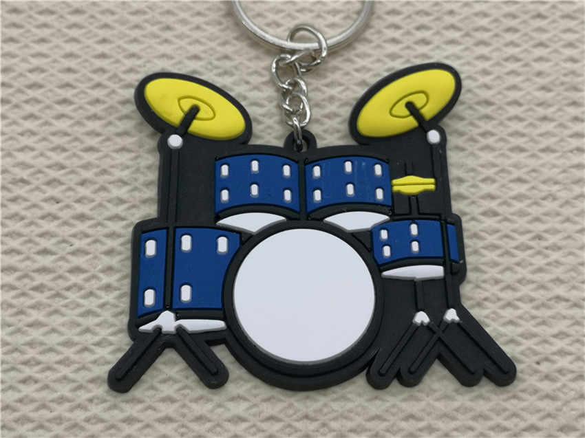 מיני חמוד סיליקון תוף ערכת Keychain אופנה רכב מפתח שרשרת סט פסנתר מפתח טבעת כלי נגינה תליון לגבר נשים מתנה