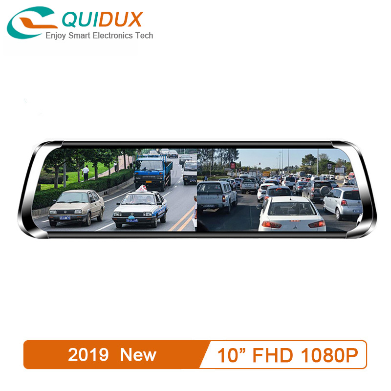 QUIDUX Car DVR 9.35 Inches IPS Screen 1:1 Split View Display Rearview Mirror FHD 1080P