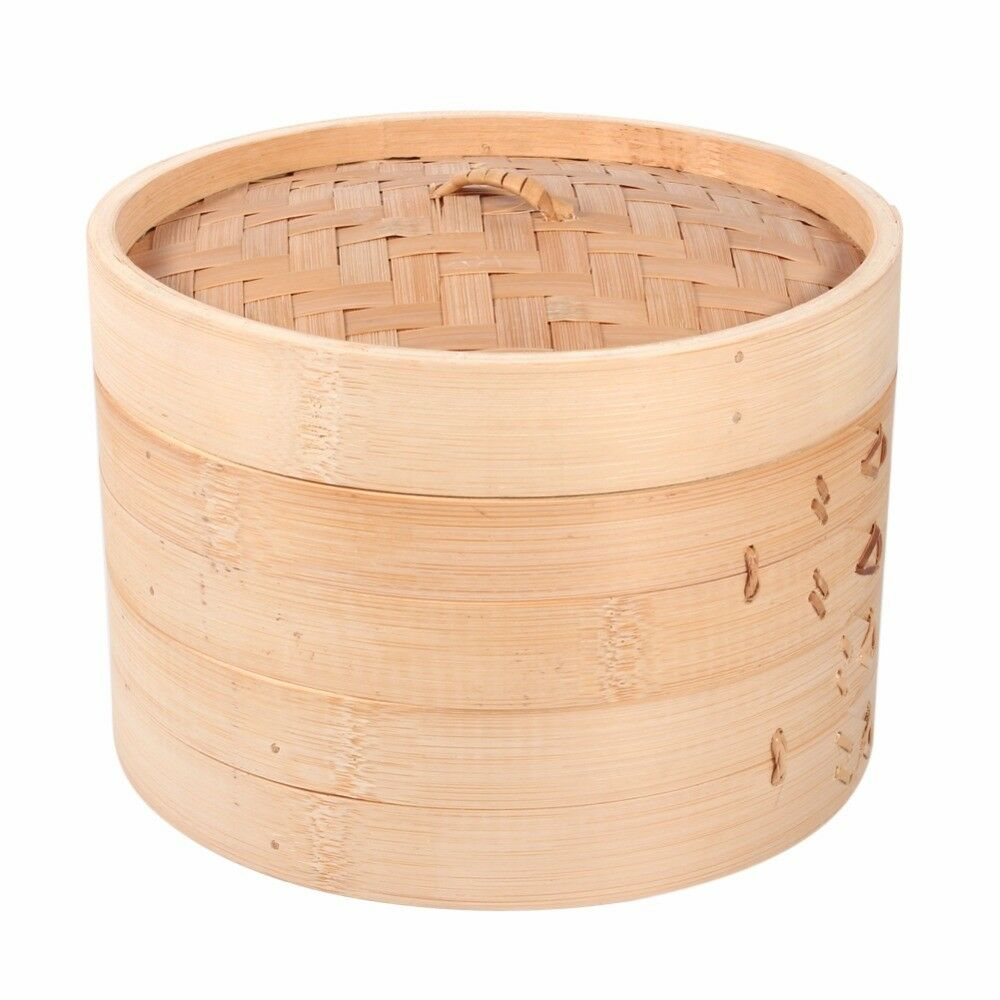 Chinese Dim Sum Steamer Basket Bamboo Cooking Steamer Cage Fish Rice Dumplings Steamer Rack Steaming Tray Cookware With Cover