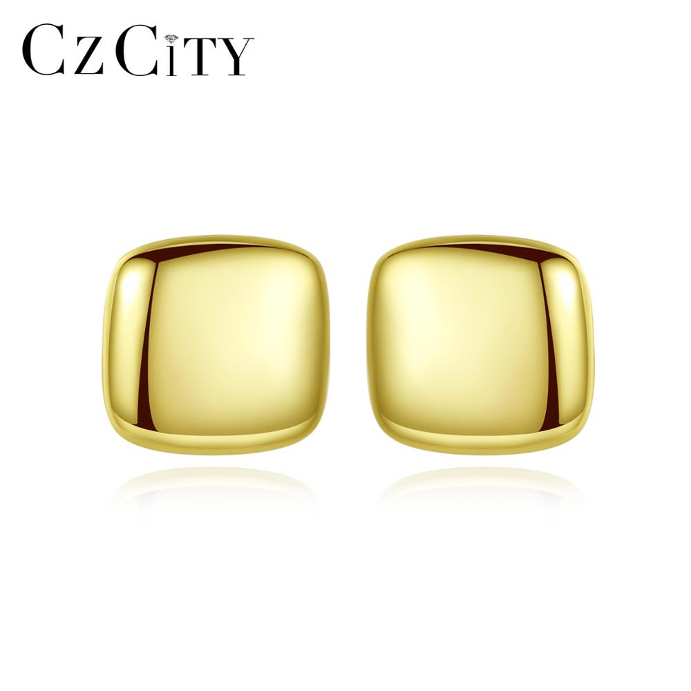 CZCITY Authentic 925 Sterling Silver Simple Square Stud Earrings For Elegant Women Girls Double Color Fine Jewelry Gift SE0388-1