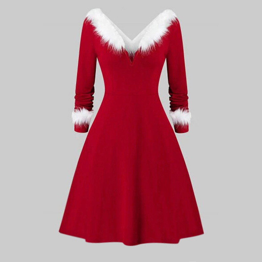 Women's Xmas Dress Snowman Snow Reindeer Long Sleeve Christmas Party A-Line Mini Dress Plus Size