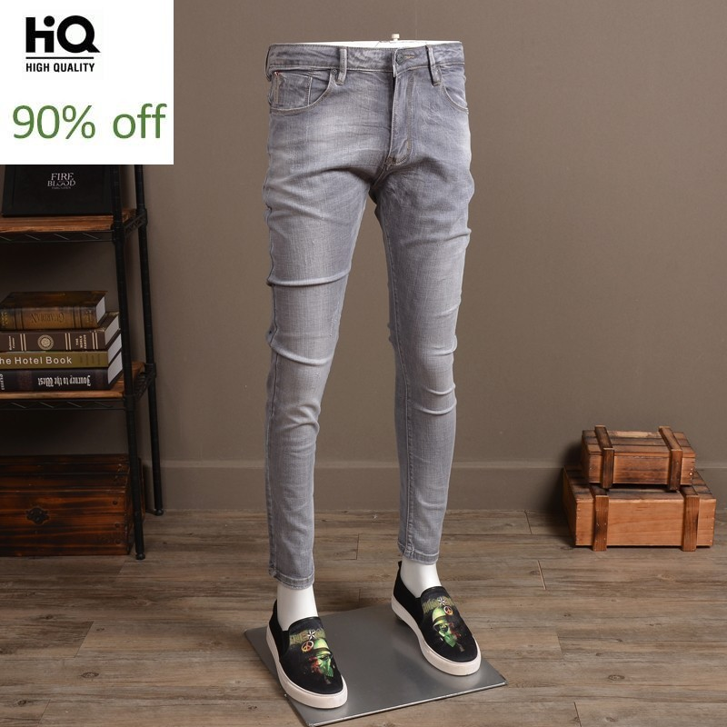 European Style Vintage Slim Fit Jeans Men Stretch Denim Pants Spring Men's Solid Long Jeans Casual Trousers For Male Light Grey