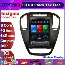 Автомобильный плеер ZOYOSKII, с вертикальным экраном 10,4 дюйма, Android 10, gps, радио, bluetooth, навигация для Opel insignia 2009-2013