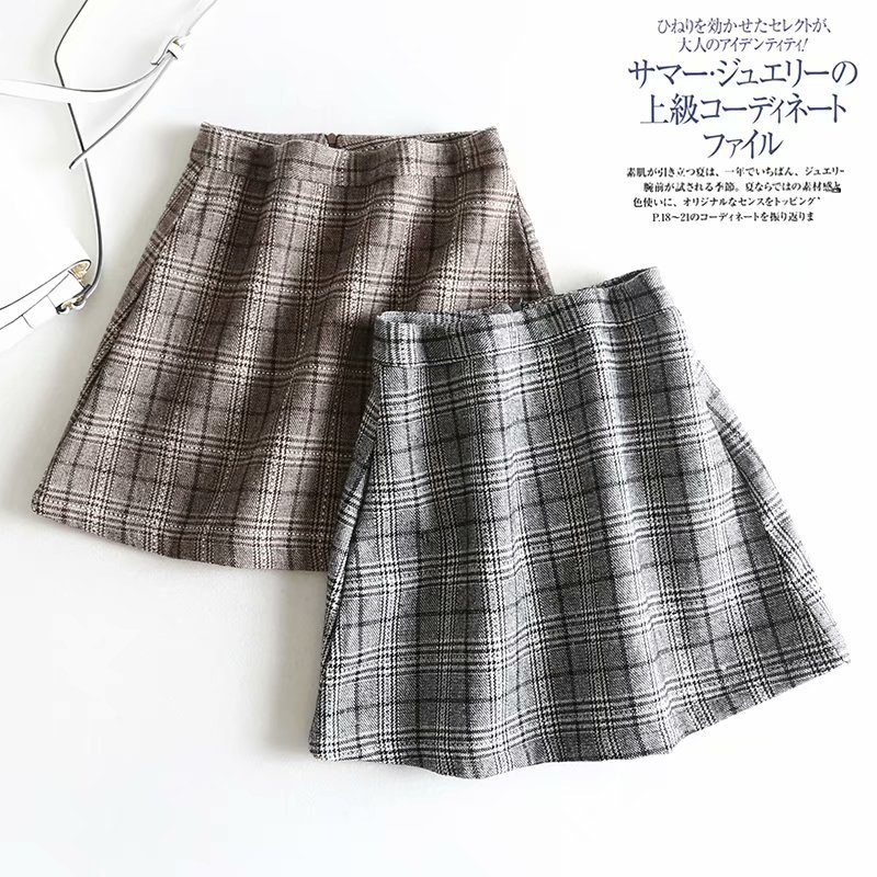 Vintage Woolen Plaid High-waisted Slimming Skirt Women's New Style Pleated Skirt Anti-Exposure Divided Skirt Students' Skirt
