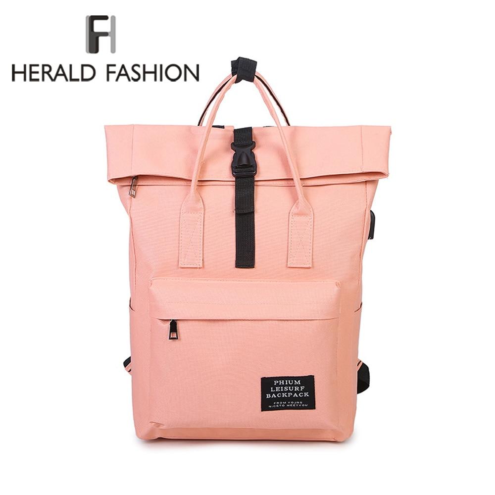 HERALD FASHION Casual USB Backpack Women Back Pack Ladies Knapsack Travel Bags School Book Bag For Teenage Girls Laptop Bag New