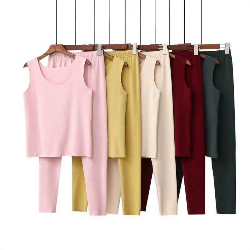Thermal Underwear women long Johns thick warm suits Winter plus Dralon Velvet Fever Sleeveless Shirt pants slim fit 2 pieces set