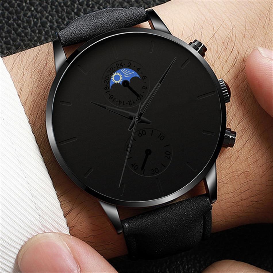 Hbe515d3ecce648d6875b4de947f0eca0B Minimalist Fashion Men's Watch Luxury Business Casual Black leather Watches Classic Male Wrist Watch Analog Clock Herren Uhren
