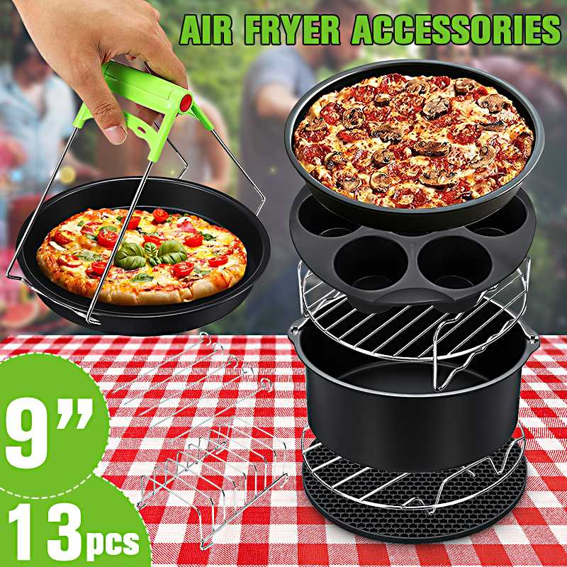 13Pcs Air Fryer Accessories 9 Inch Fit For Airfryer 5.2-6.8QT Baking Basket Pizza Plate Grill Pot Kitchen Cooking Tool For Party
