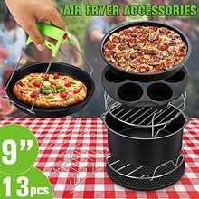 13 pces acessórios da fritadeira de ar 9 Polegada apto para airfryer 5.2-6.8qt cesta de cozimento da placa da pizza grill pot cozinha ferramenta de cozimento para a festa