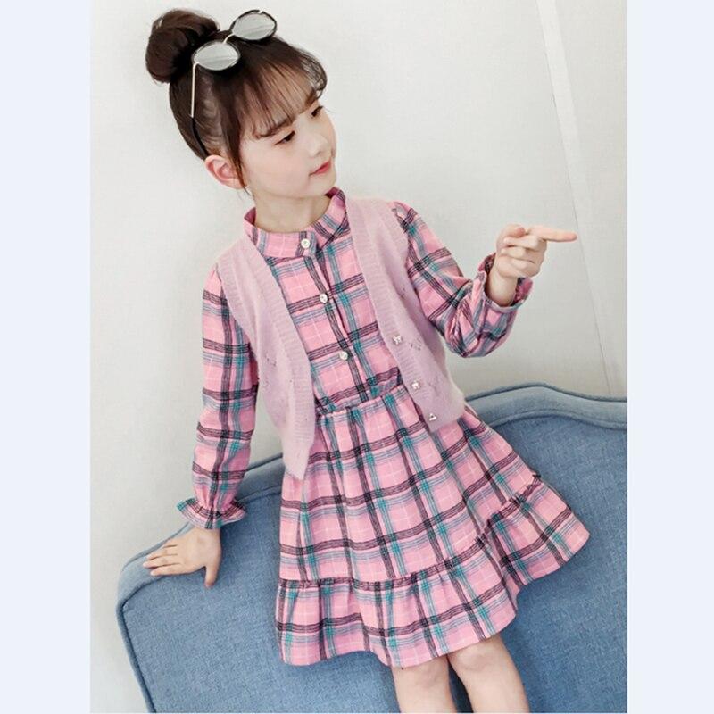 Çocuk elbise 2019 bahar sonbahar ekose kız desen cep uzun kollu elbise için 3-10Y genç giyim çocuk elbise