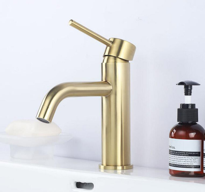 Brushed Gold Stainless Steel Bathroom Basin Faucet Cold And Hot Water Mixer Sink Tap Single Handle Deck Mounted Brushed Gold Tap