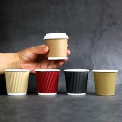 50 sztuk 4oz100ml jednorazowe podwójna warstwa faliste małe kubek papierowy degustacja kawy kubek grube anti strasznie gorące kubki na napoje z pokrywa w Kubki jednorazowe od Dom i ogród na