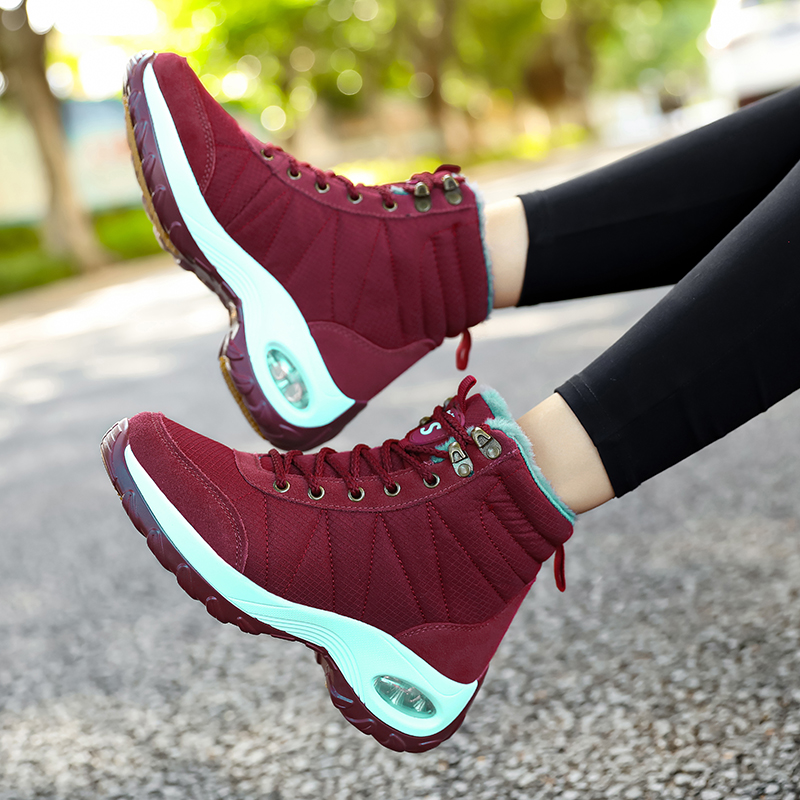 Winter Shoes Woman Snow Boots Warm Fur Plush Insole Boots Flock Ankle Boots Women Shoes Lace-up Lightweight Sneakers Women 16