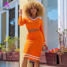 Adogirl Orange Knitted 2 Two Piece Set Women Sexy V Neck Crop Top Neon Skirt Matching Sets Skinny Work Wear Femme Cloth Outfits