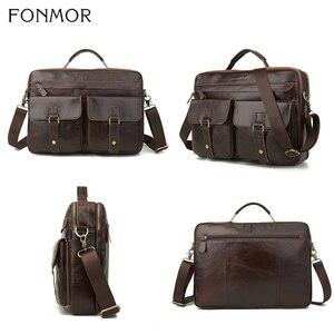 Image 4 - Fonmor New 100%Cowhide Briefcases Men Big Totes Genuine Leather Handbag Zipper Male Business Hasp Pocket Soft Handle Bags