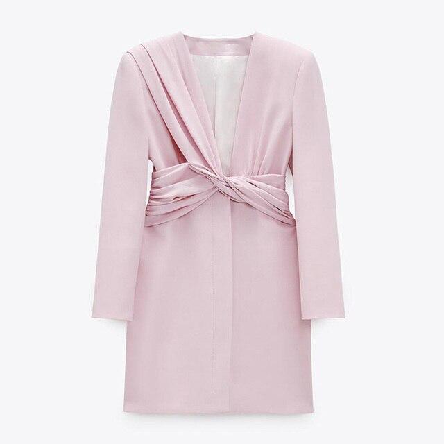 CP Long Sleeve Collected Waisted Dresses Women Fashion Casual V Neck Dress Women Elegant Mini Dresses Female Ladies 4