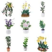 Adorno de jardín de hadas, maceta pequeña para plantas y flores, decoración para casa de muñecas, modelo de bonsái, juguetes para niños, casa de muñecas en miniatura 1:12