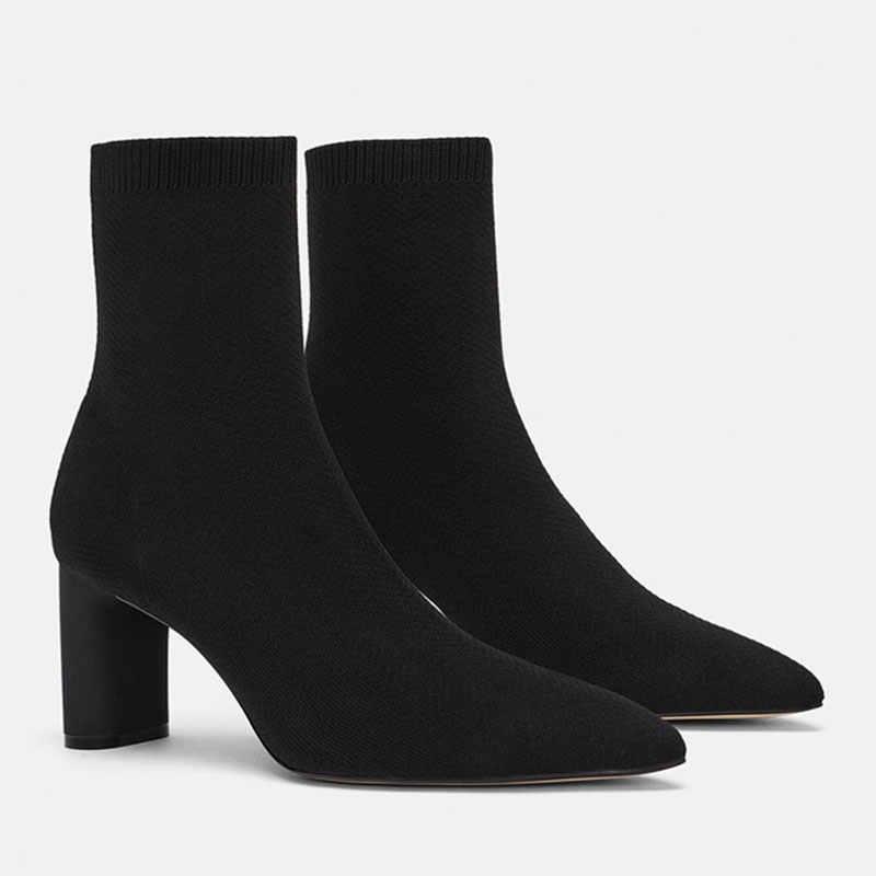Genshuo Autun Damesschoenen Chunky Hoge Hees Puntschoen Solid Zwart Ankel Sok Laarzen Voor Vrouwen Maat 34-40 hoge Hak Pompen Laarzen