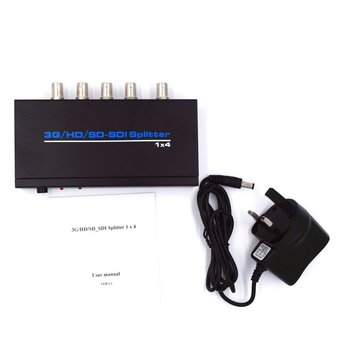 High Quality SDI Splitter 1x4 3G/HD/SD-SDI Video SDI Splitter 1 in 4 out 1080P Repeater Extender with power Adapter